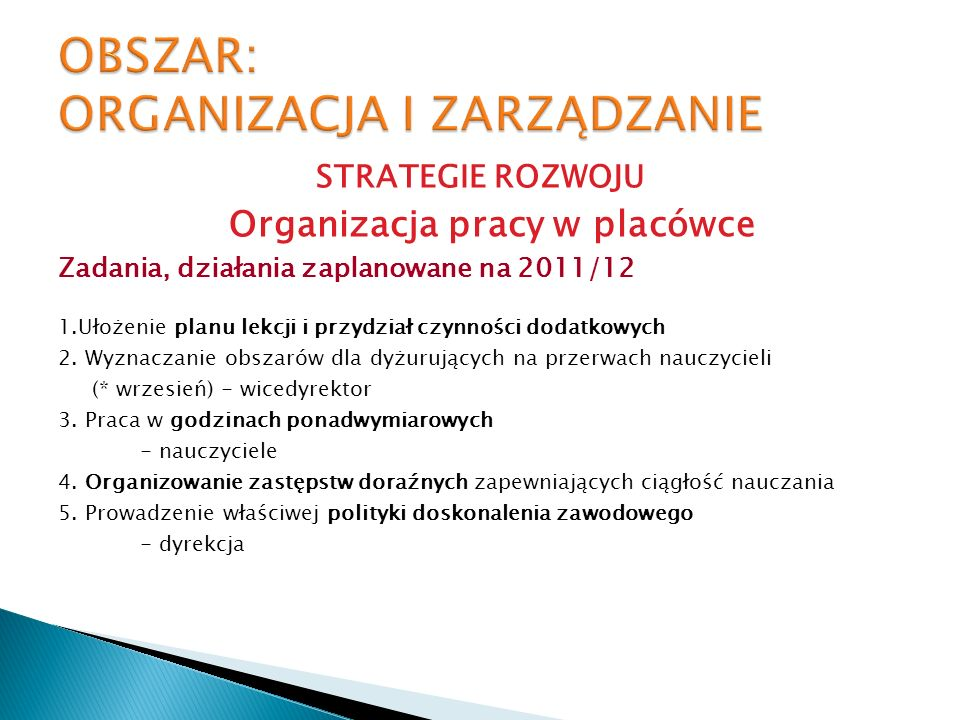 STRATEGIE ROZWOJU Organizacja pracy w placówce Zadania, działania zaplanowane na 2011/12 1.Ułożenie planu lekcji i przydział czynności dodatkowych 2.