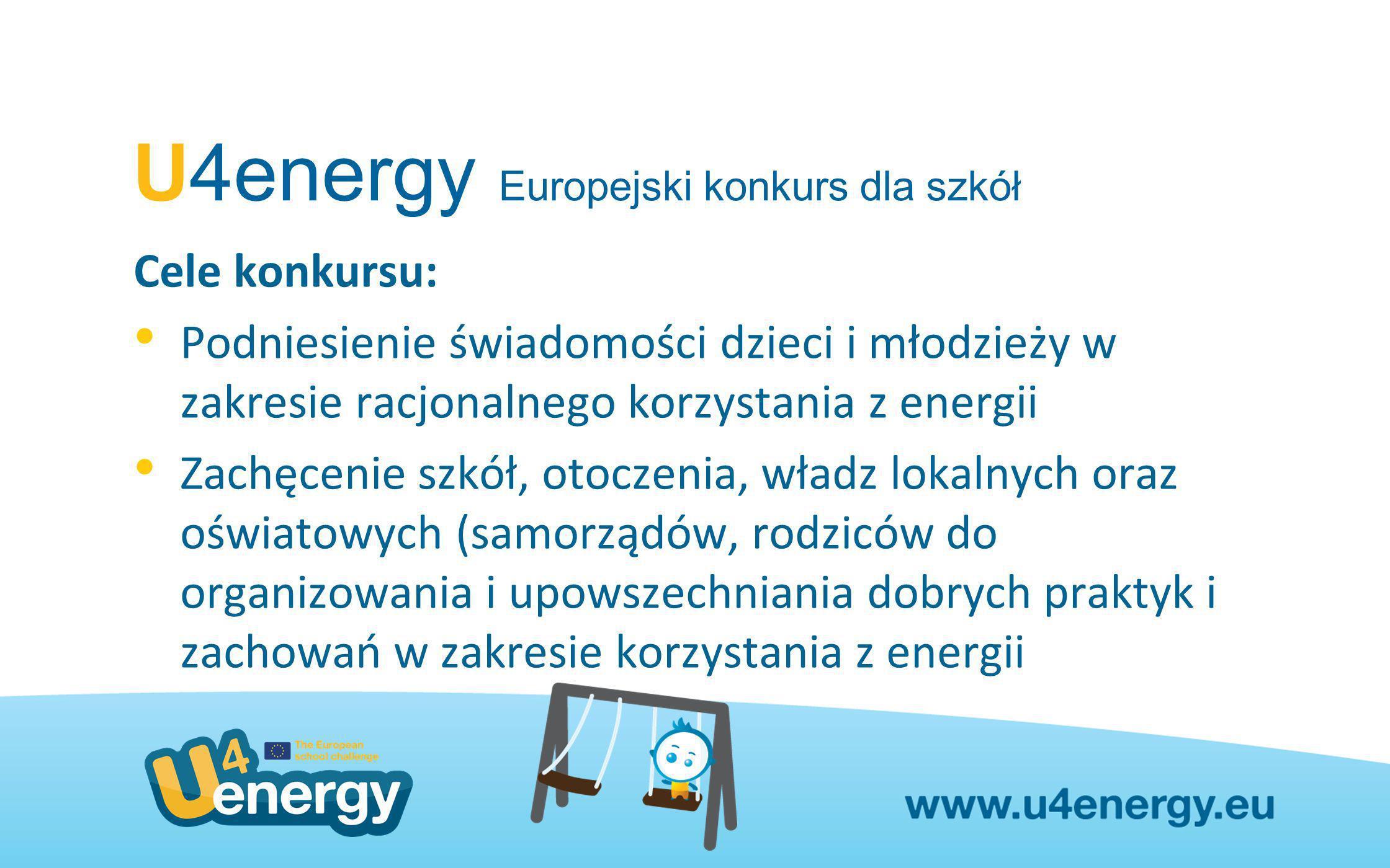 U4energy Europejski konkurs dla szkół Adresaci konkursu: Przedszkola, szkoły podstawowe i ponadpodstawowe (także szkoły zawodowe, technika) z 27 krajów członkowskich UE a także z: Chorwacji, Islandii, Lichtenstein i Norwegii.