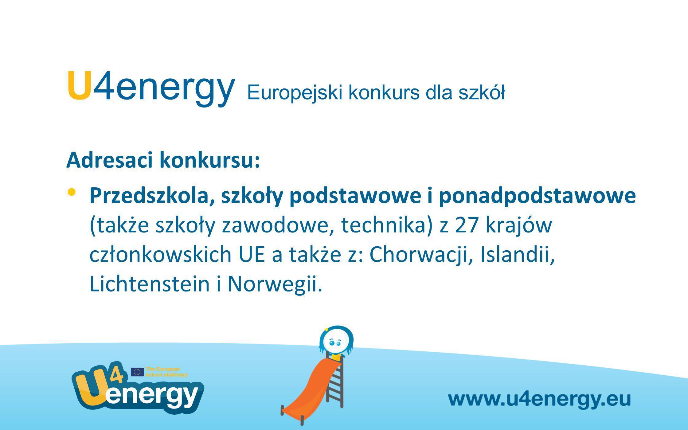 U4energy Europejski konkurs dla szkół Adresaci konkursu: Przedszkola, szkoły podstawowe i ponadpodstawowe (także szkoły zawodowe, technika) z 27 krajó