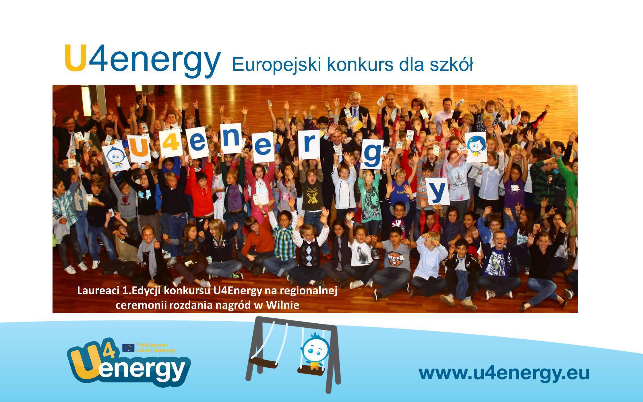 U4energy Europejski konkurs dla szkół Kategorie konkursowe A – wskaźniki i sposoby na racjonalne wykorzystanie energii przez szkoły B – działania pedagogiczne na temat korzystania z energii (np.scenariusze lekcji) C – szkolne kampanie informacyjne i promocyjne na temat efektywności energetycznej Kategoria specjalna– najlepsze krajowe i europejskie inicjatywy i konkursy ekologiczne