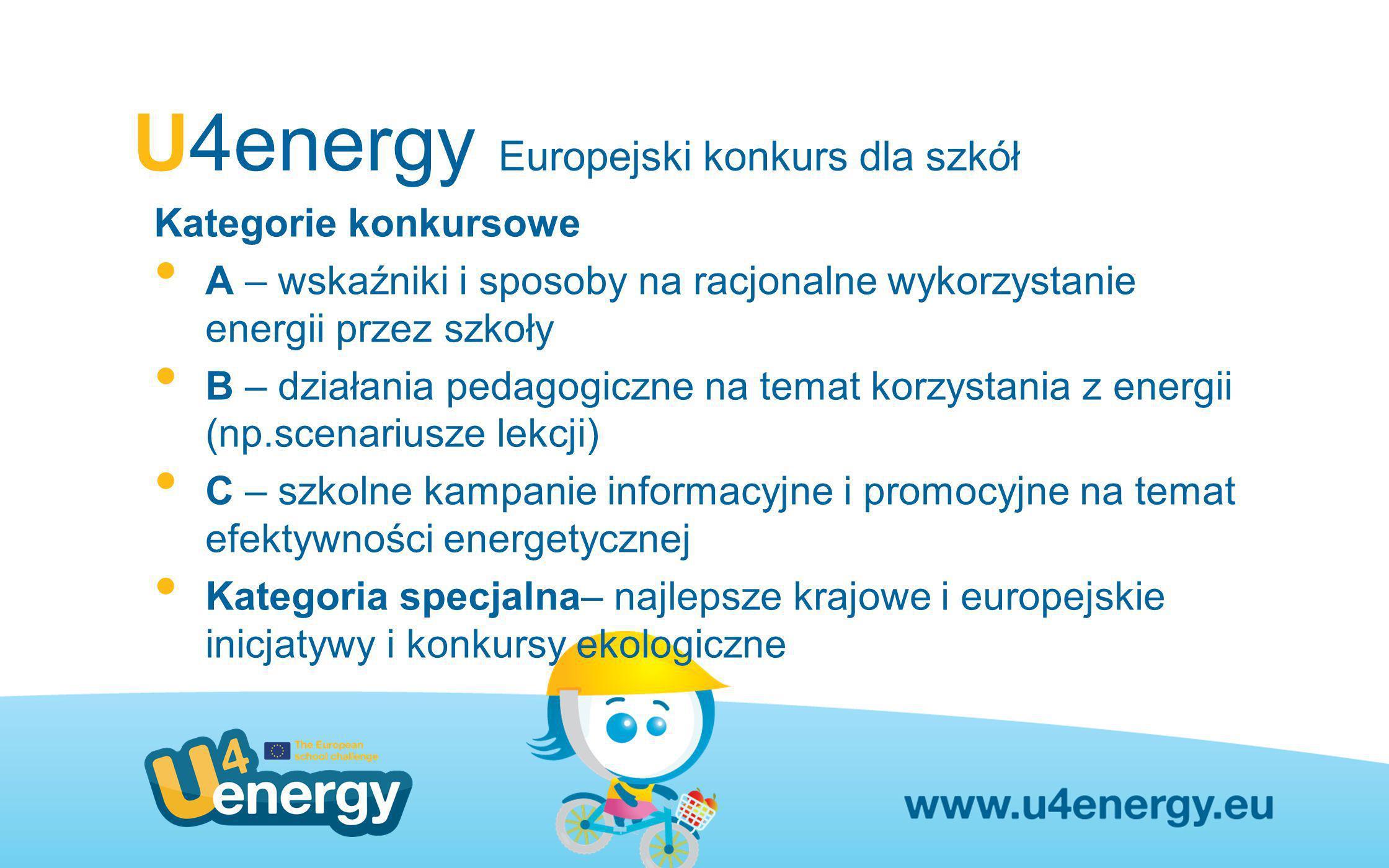 U4energy Europejski konkurs dla szkół Kategorie konkursowe A – wskaźniki i sposoby na racjonalne wykorzystanie energii przez szkoły B – działania peda