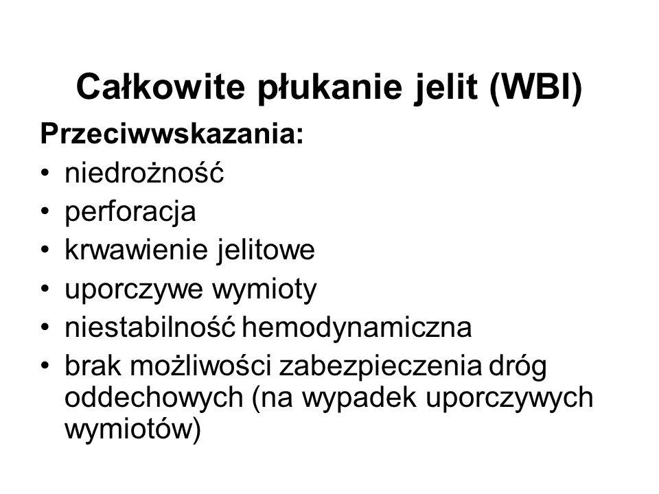 Całkowite płukanie jelit (WBI) Przeciwwskazania: niedrożność perforacja krwawienie jelitowe uporczywe wymioty niestabilność hemodynamiczna brak możliw