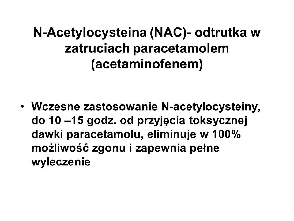 N-Acetylocysteina (NAC)- odtrutka w zatruciach paracetamolem (acetaminofenem) Wczesne zastosowanie N-acetylocysteiny, do 10 –15 godz. od przyjęcia tok
