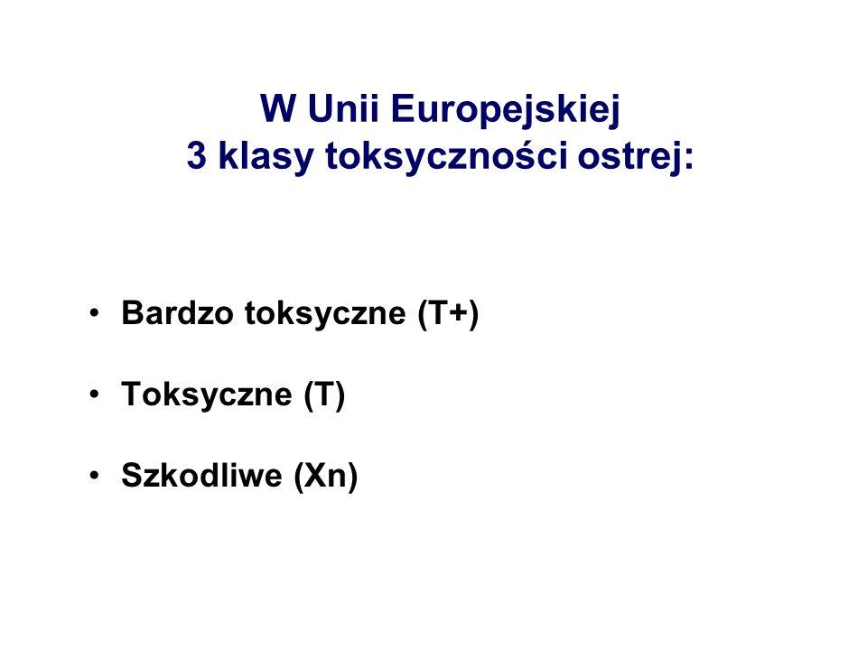 W Unii Europejskiej 3 klasy toksyczności ostrej: Bardzo toksyczne (T+) Toksyczne (T) Szkodliwe (Xn)