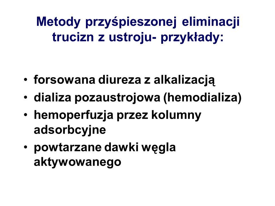 Metody przyśpieszonej eliminacji trucizn z ustroju- przykłady: forsowana diureza z alkalizacją dializa pozaustrojowa (hemodializa) hemoperfuzja przez