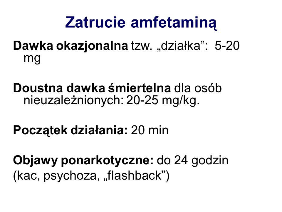 Zatrucie amfetaminą Dawka okazjonalna tzw. działka: 5-20 mg Doustna dawka śmiertelna dla osób nieuzależnionych: 20-25 mg/kg. Początek działania: 20 mi