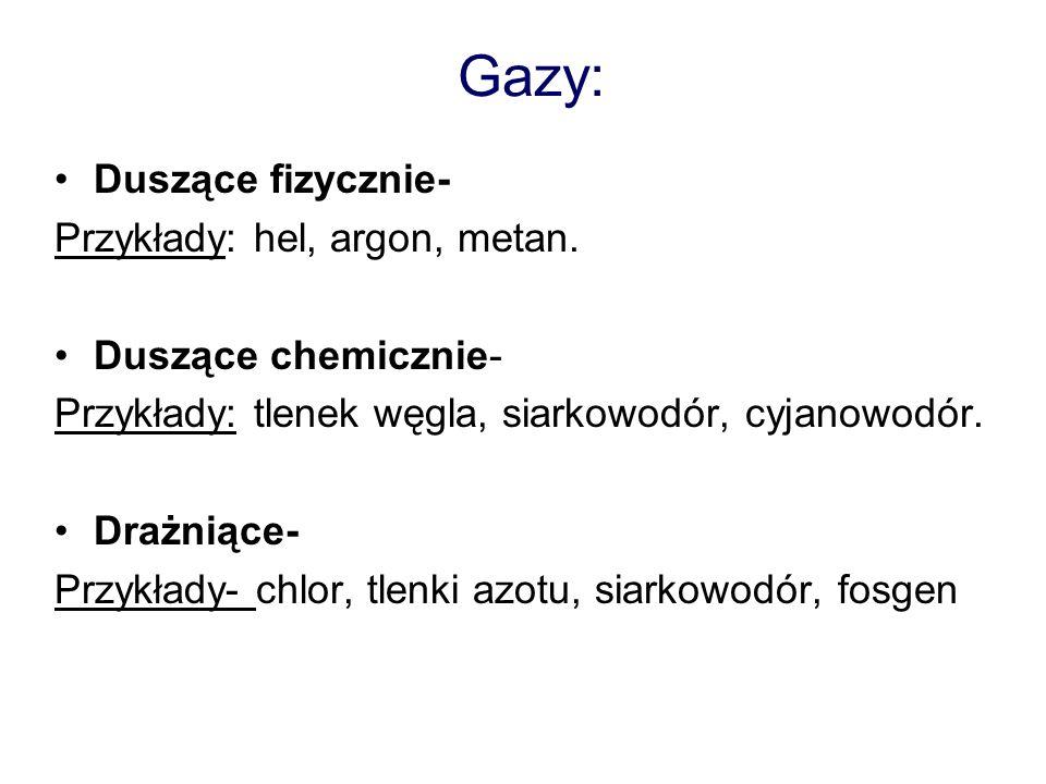 Gazy: Duszące fizycznie- Przykłady: hel, argon, metan. Duszące chemicznie- Przykłady: tlenek węgla, siarkowodór, cyjanowodór. Drażniące- Przykłady- ch