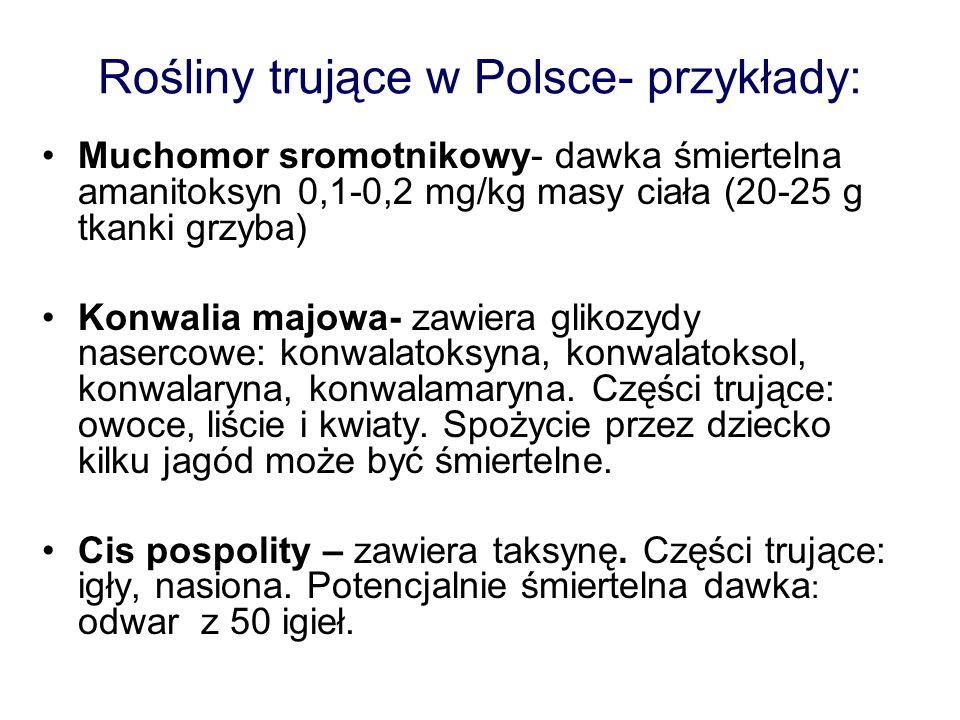 Rośliny trujące w Polsce- przykłady: Muchomor sromotnikowy- dawka śmiertelna amanitoksyn 0,1-0,2 mg/kg masy ciała (20-25 g tkanki grzyba) Konwalia maj