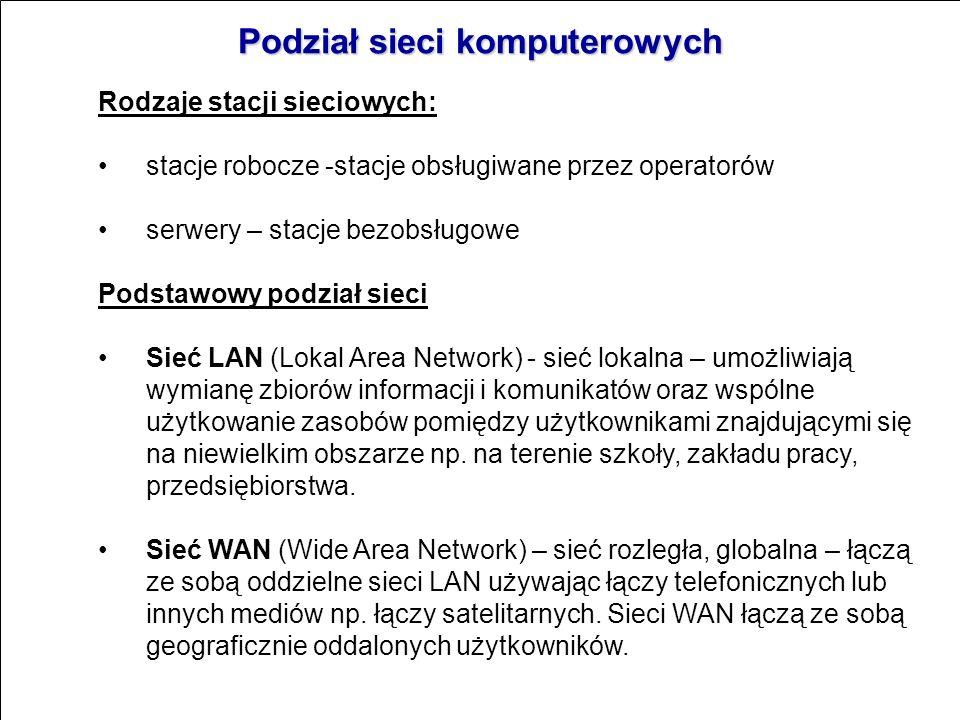 Sieci komputerowe Siecią komputerową - nazywamy strukturę składającą się ze stacji sieciowych i łączącego je medium transmisyjnego. W praktyce oznacza