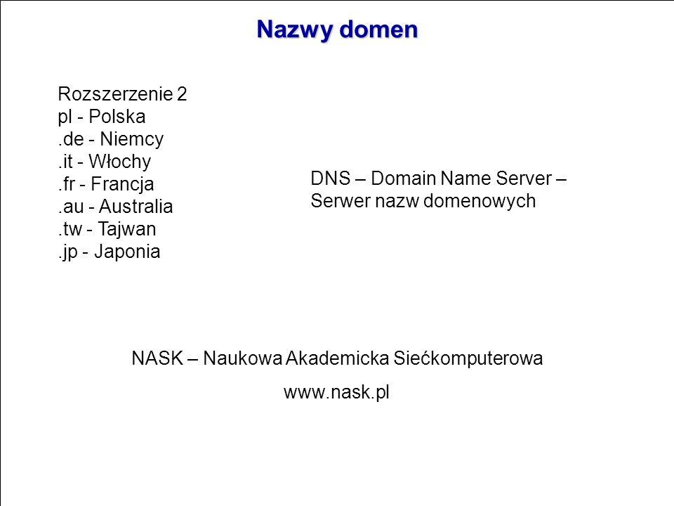 Nazwy domen www.Nazwa-własna.rozszerzenie1.rozszerzenie2 Rozszerzenie1 com - instytucje komercyjne, np. sony.com (to w USA).edu - instytucje edukacyjn