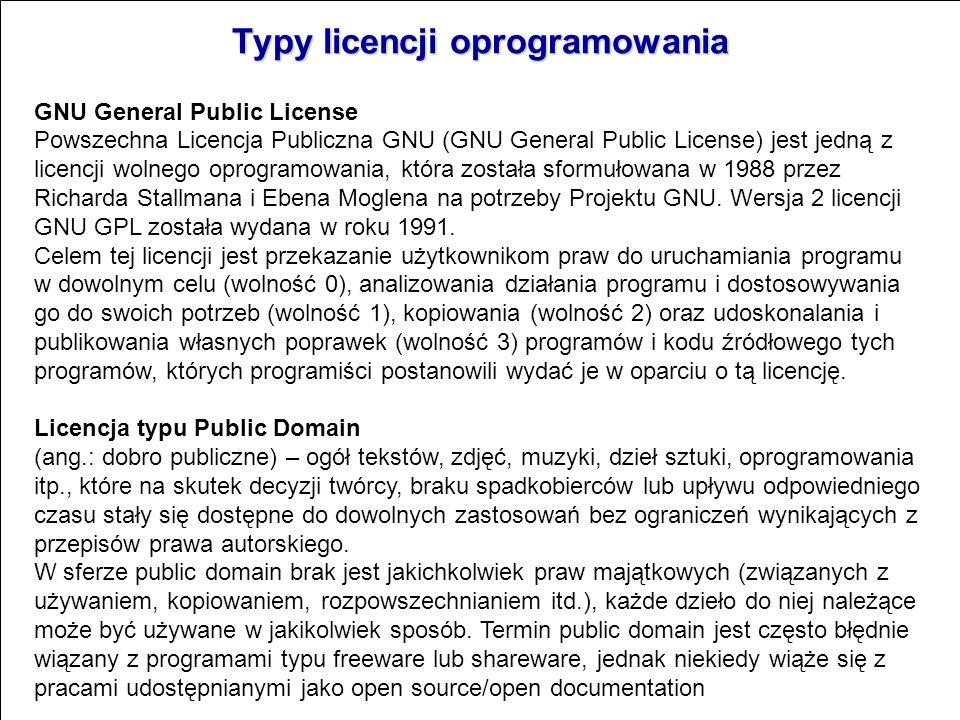Typy licencji oprogramowania Shareware – wymaga opłaty po upływie pewnego okresu próbnego, gdy użytkownik może przekonać się o przydatności programu.