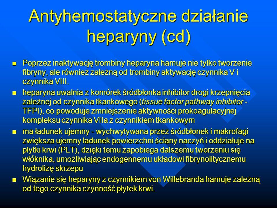 Antyhemostatyczne działanie heparyny (cd) Poprzez inaktywację trombiny heparyna hamuje nie tylko tworzenie fibryny, ale r ó wnież zależną od trombiny