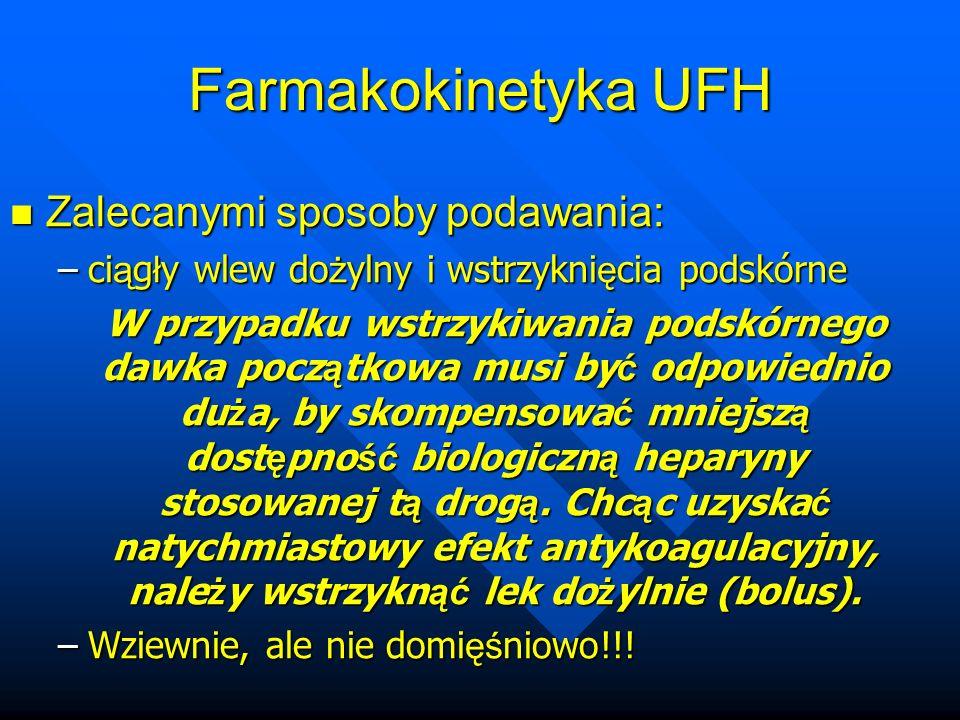 Farmakokinetyka UFH Zalecanymi sposoby podawania: Zalecanymi sposoby podawania: –ci ą g ł y wlew do ż ylny i wstrzykni ę cia podskórne W przypadku wstrzykiwania podskórnego dawka pocz ą tkowa musi by ć odpowiednio du ż a, by skompensowa ć mniejsz ą dost ę pno ść biologiczn ą heparyny stosowanej t ą drog ą.