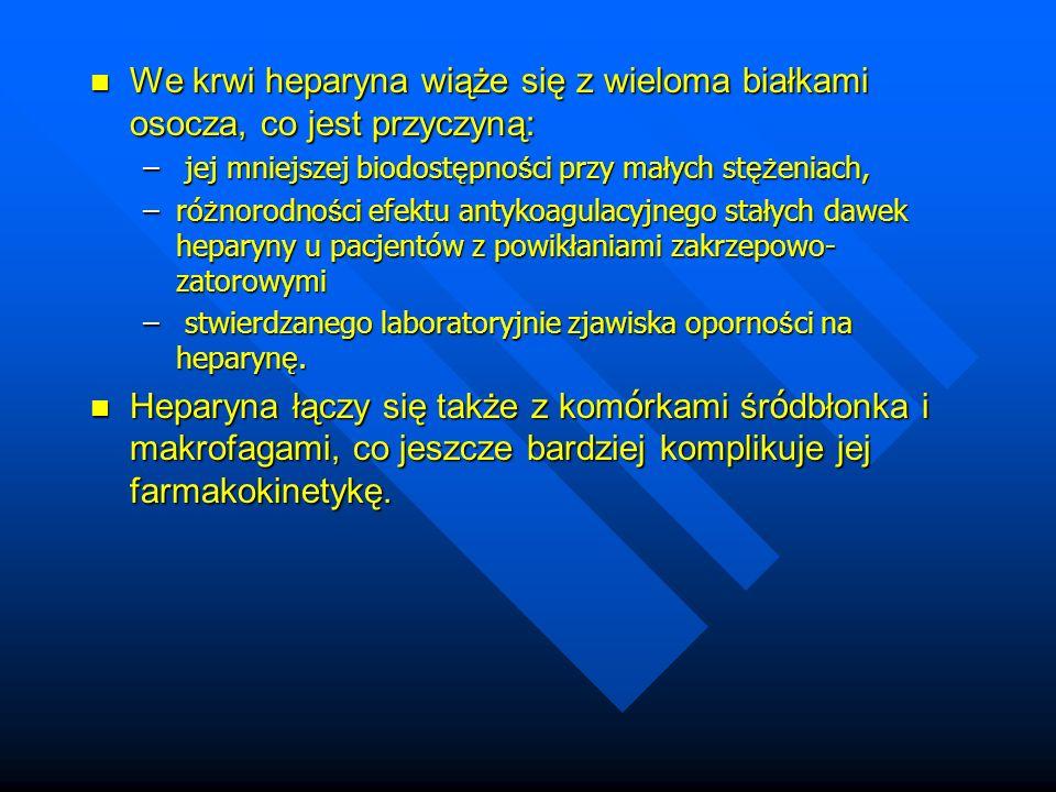 We krwi heparyna wiąże się z wieloma białkami osocza, co jest przyczyną: We krwi heparyna wiąże się z wieloma białkami osocza, co jest przyczyną: – jej mniejszej biodost ę pno ś ci przy ma ł ych st ęż eniach, –ró ż norodno ś ci efektu antykoagulacyjnego sta ł ych dawek heparyny u pacjentów z powik ł aniami zakrzepowo- zatorowymi – stwierdzanego laboratoryjnie zjawiska oporno ś ci na heparyn ę.
