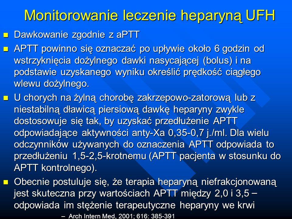 Monitorowanie leczenie heparyną UFH Dawkowanie zgodnie z aPTT Dawkowanie zgodnie z aPTT APTT powinno się oznaczać po upływie około 6 godzin od wstrzyknięcia dożylnego dawki nasycającej (bolus) i na podstawie uzyskanego wyniku określić prędkość ciągłego wlewu dożylnego.