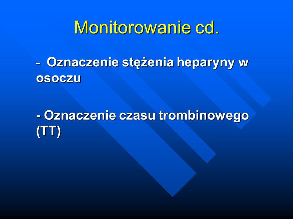 Monitorowanie cd. - Oznaczenie stężenia heparyny w osoczu - Oznaczenie czasu trombinowego (TT)