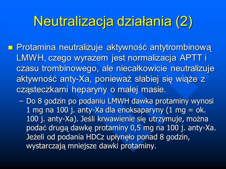 Protamina neutralizuje aktywność antytrombinową LMWH, czego wyrazem jest normalizacja APTT i czasu trombinowego, ale niecałkowicie neutralizuje aktywność anty-Xa, ponieważ słabiej się wiąże z cząsteczkami heparyny o małej masie.