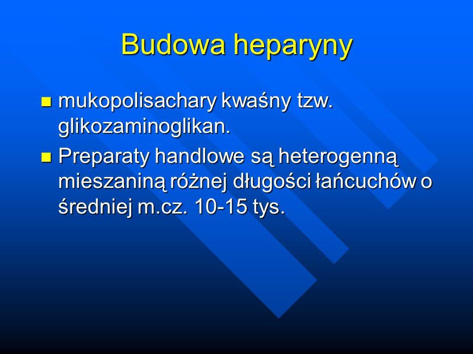 Małopłytkowość 2 typy trombocytopenii podczas leczenia heparyną: 2 typy trombocytopenii podczas leczenia heparyną: –najczęściej spotykana łagodna lub wczesna, rozwija się w pierwszych dniach leczenia i nie ma poważnych następstw klinicznych (spowodowana jest bezpośrednim działanie m agregacyjnym frakcji o wysokim ciężarze cząsteczkowym na PLT) – tzw.