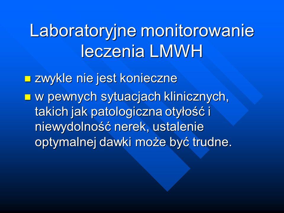 Laboratoryjne monitorowanie leczenia LMWH zwykle nie jest konieczne zwykle nie jest konieczne w pewnych sytuacjach klinicznych, takich jak patologiczna otyłość i niewydolność nerek, ustalenie optymalnej dawki może być trudne.
