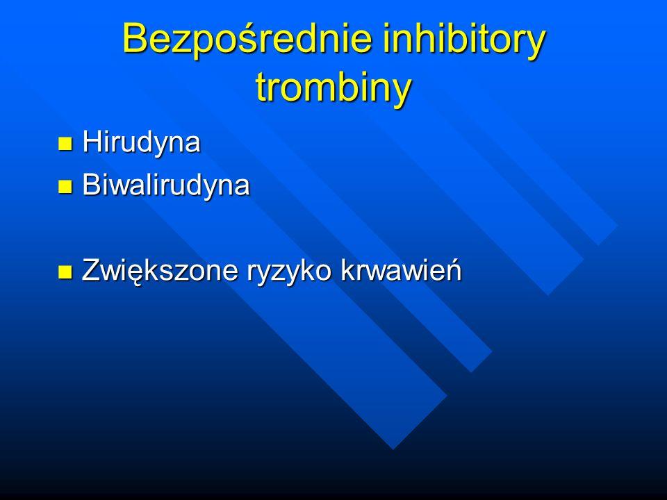 Bezpośrednie inhibitory trombiny Hirudyna Hirudyna Biwalirudyna Biwalirudyna Zwiększone ryzyko krwawień Zwiększone ryzyko krwawień