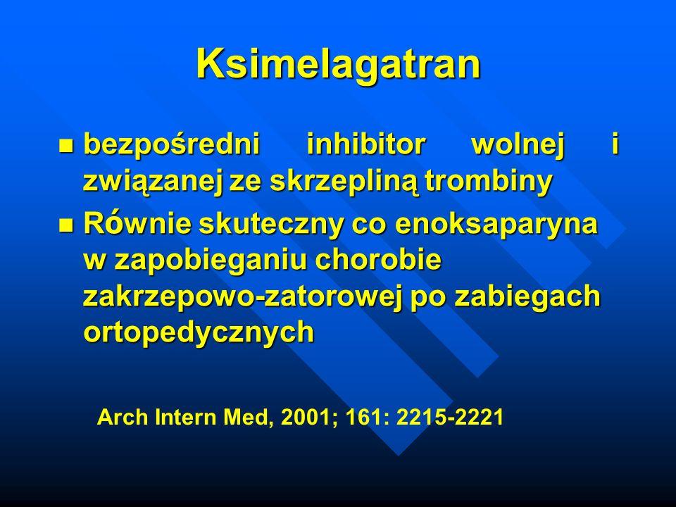 Ksimelagatran bezpośredni inhibitor wolnej i związanej ze skrzepliną trombiny bezpośredni inhibitor wolnej i związanej ze skrzepliną trombiny R ó wnie skuteczny co enoksaparyna w zapobieganiu chorobie zakrzepowo-zatorowej po zabiegach ortopedycznych R ó wnie skuteczny co enoksaparyna w zapobieganiu chorobie zakrzepowo-zatorowej po zabiegach ortopedycznych Arch Intern Med, 2001; 161: 2215-2221
