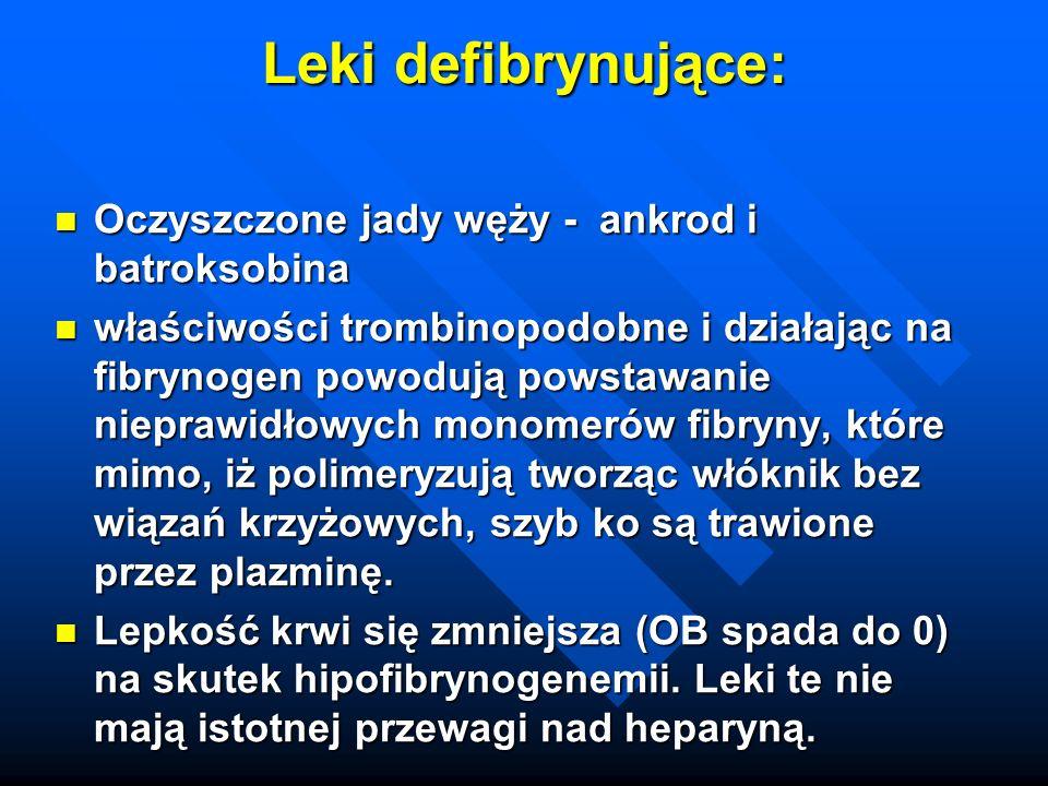 Leki defibrynujące: Oczyszczone jady węży - ankrod i batroksobina Oczyszczone jady węży - ankrod i batroksobina właściwości trombinopodobne i działają