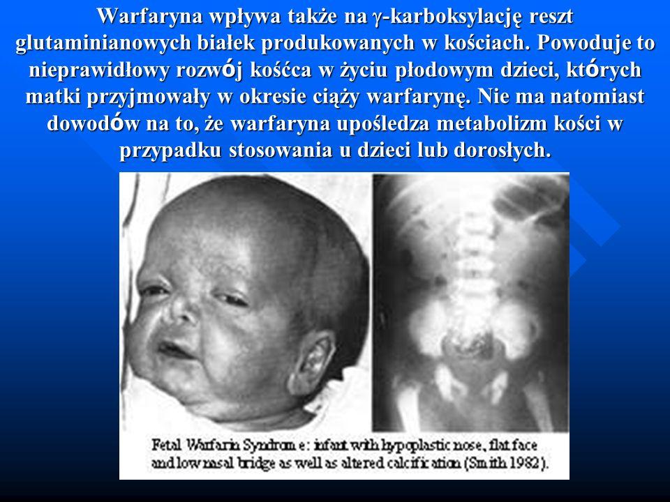 Warfaryna wpływa także na -karboksylację reszt glutaminianowych białek produkowanych w kościach.
