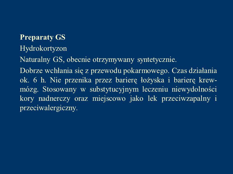 Preparaty GS Hydrokortyzon Naturalny GS, obecnie otrzymywany syntetycznie. Dobrze wchłania się z przewodu pokarmowego. Czas działania ok. 6 h. Nie prz
