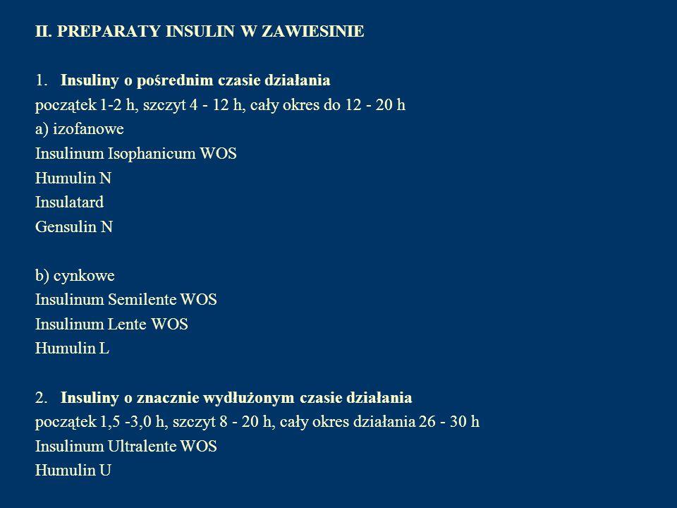 II. PREPARATY INSULIN W ZAWIESINIE 1. Insuliny o pośrednim czasie działania początek 1-2 h, szczyt 4 - 12 h, cały okres do 12 - 20 h a) izofanowe Insu