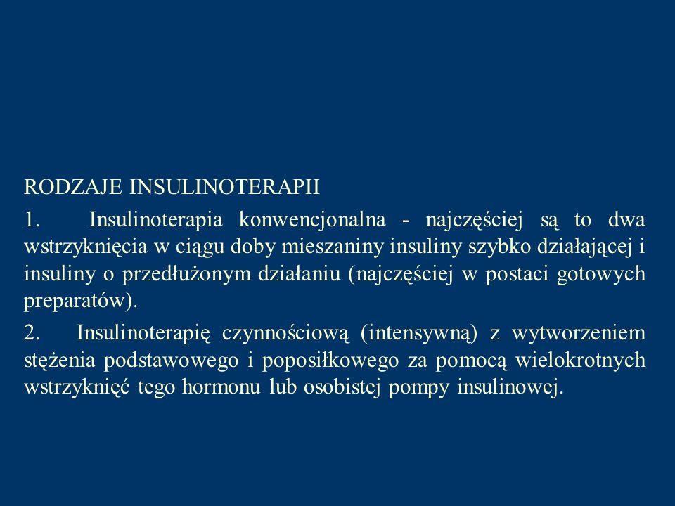RODZAJE INSULINOTERAPII 1. Insulinoterapia konwencjonalna - najczęściej są to dwa wstrzyknięcia w ciągu doby mieszaniny insuliny szybko działającej i