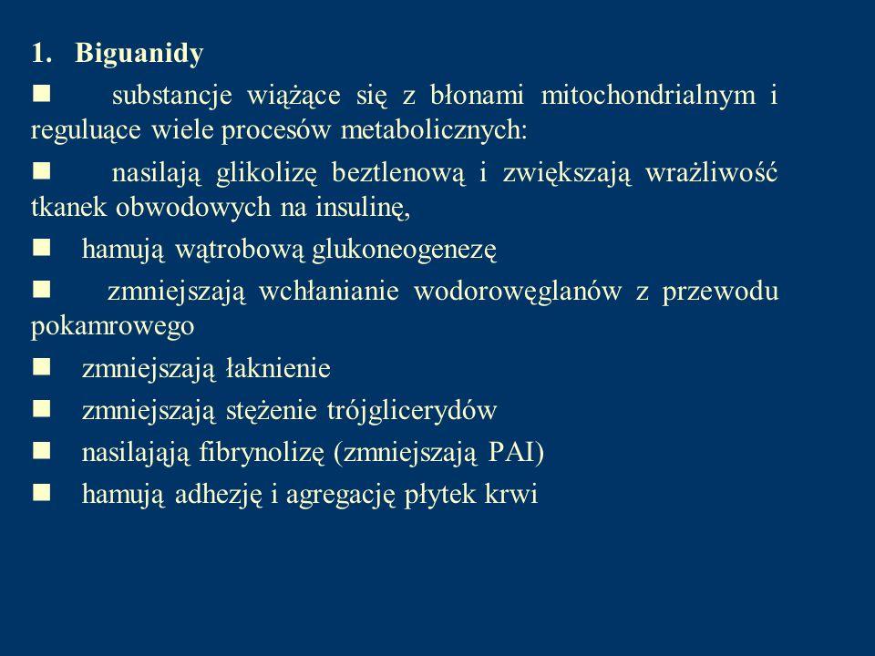 1. Biguanidy substancje wiążące się z błonami mitochondrialnym i reguluące wiele procesów metabolicznych: nasilają glikolizę beztlenową i zwiększają w