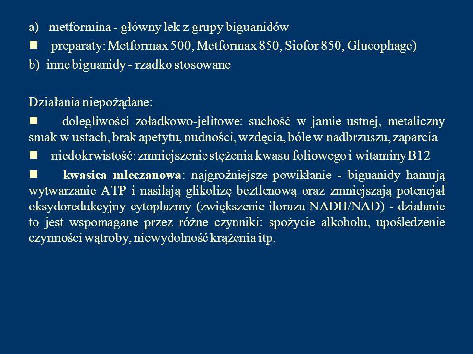 a) metformina - główny lek z grupy biguanidów preparaty: Metformax 500, Metformax 850, Siofor 850, Glucophage) b) inne biguanidy - rzadko stosowane Dz