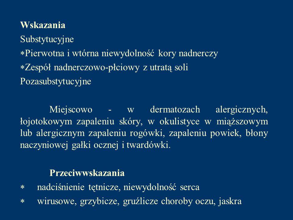 a) metformina - główny lek z grupy biguanidów preparaty: Metformax 500, Metformax 850, Siofor 850, Glucophage) b) inne biguanidy - rzadko stosowane Działania niepożądane: dolegliwości żoładkowo-jelitowe: suchość w jamie ustnej, metaliczny smak w ustach, brak apetytu, nudności, wzdęcia, bóle w nadbrzuszu, zaparcia niedokrwistość: zmniejszenie stężenia kwasu foliowego i witaminy B12 kwasica mleczanowa: najgroźniejsze powikłanie - biguanidy hamują wytwarzanie ATP i nasilają glikolizę beztlenową oraz zmniejszają potencjał oksydoredukcyjny cytoplazmy (zwiększenie ilorazu NADH/NAD) - działanie to jest wspomagane przez różne czynniki: spożycie alkoholu, upośledzenie czynności wątroby, niewydolność krążenia itp.