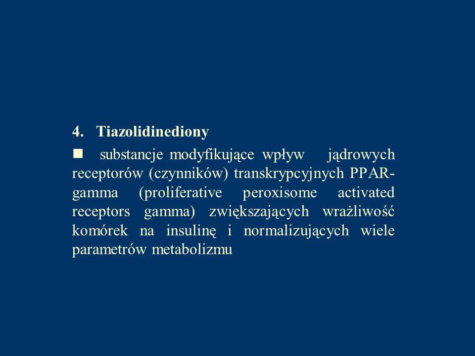 4. Tiazolidinediony substancje modyfikujące wpływ jądrowych receptorów (czynników) transkrypcyjnych PPAR- gamma (proliferative peroxisome activated re