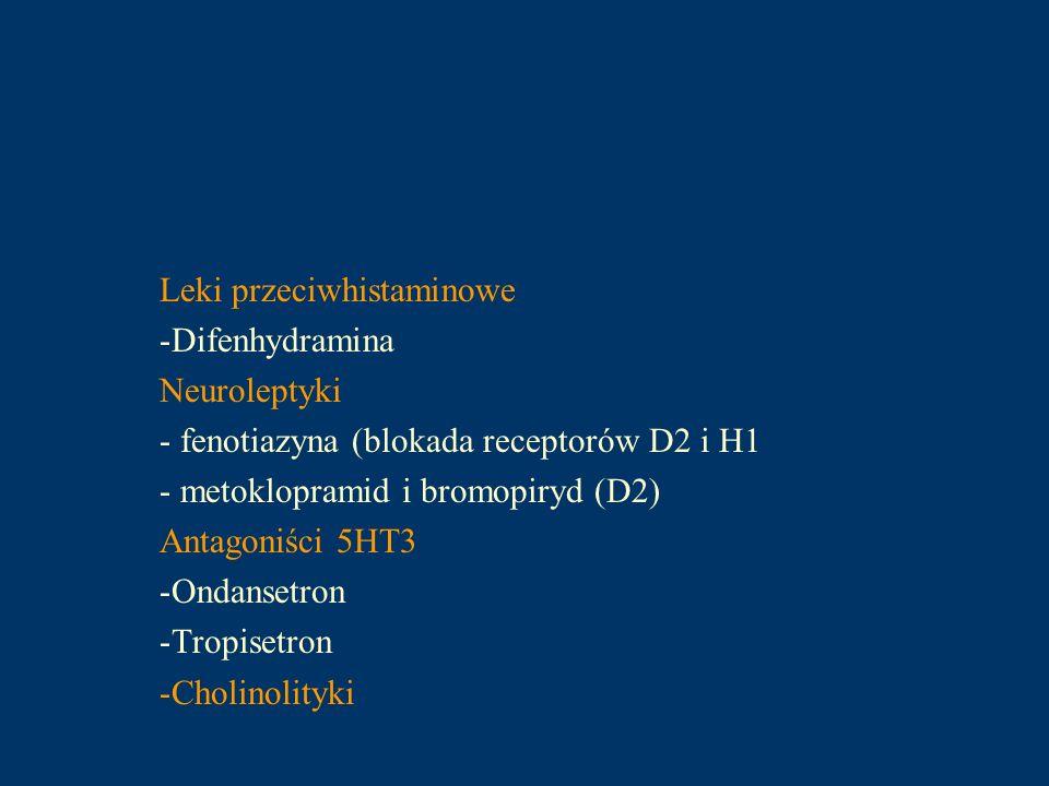 Leki przeciwhistaminowe -Difenhydramina Neuroleptyki - fenotiazyna (blokada receptorów D2 i H1 - metoklopramid i bromopiryd (D2) Antagoniści 5HT3 -Ond