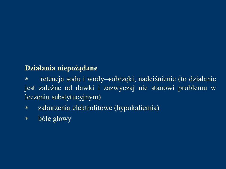 Fludrokortyzon Syntetyczny glikokortykosteroid, wykazujący również silne właściwości mineralotropowe.