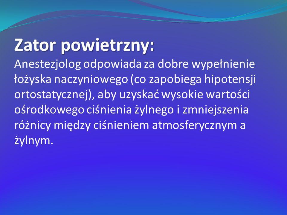 Zator powietrzny: Anestezjolog odpowiada za dobre wypełnienie łożyska naczyniowego (co zapobiega hipotensji ortostatycznej), aby uzyskać wysokie warto