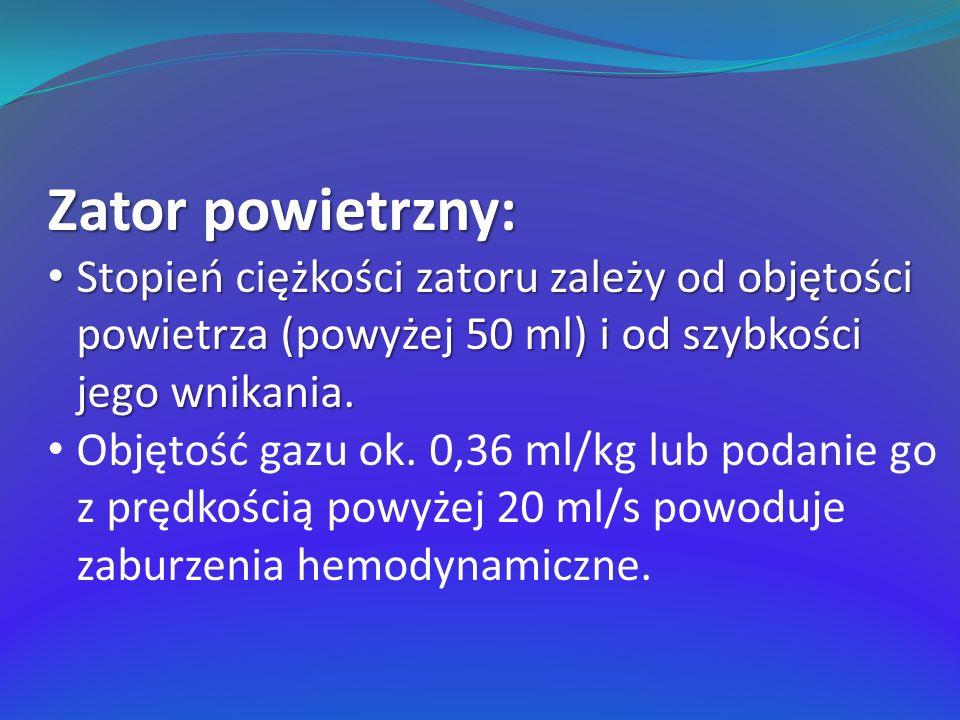Zator powietrzny: Stopień ciężkości zatoru zależy od objętości powietrza (powyżej 50 ml) i od szybkości jego wnikania. Stopień ciężkości zatoru zależy