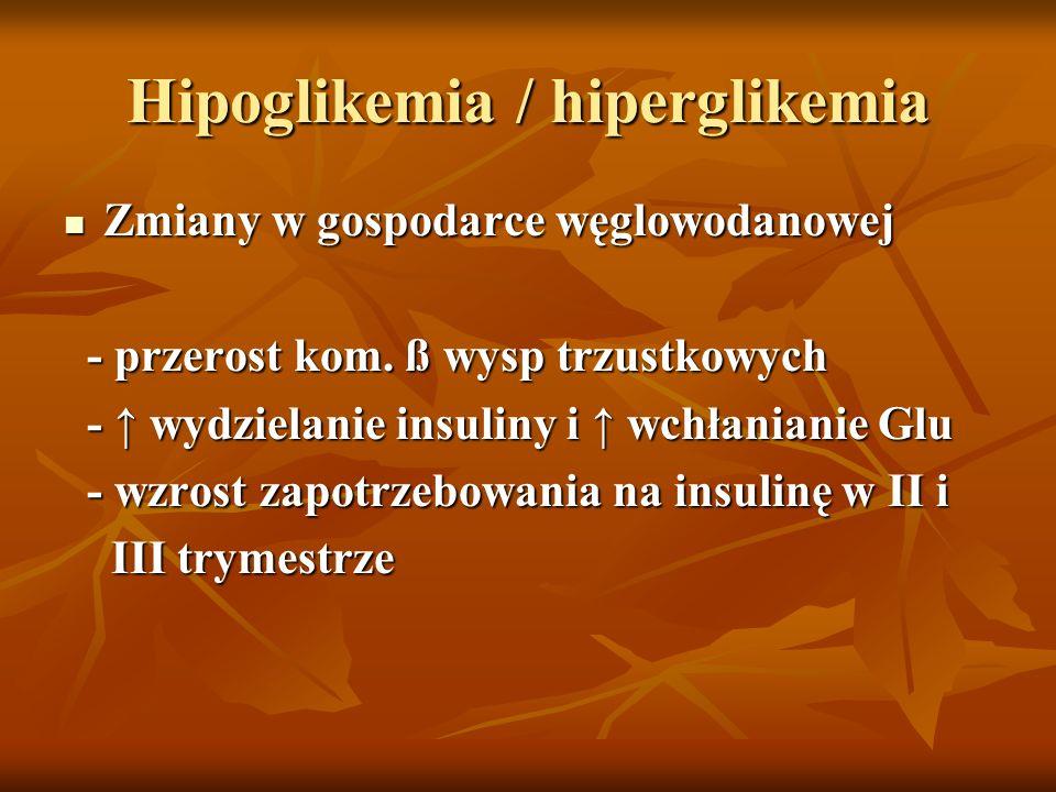Hipoglikemia / hiperglikemia Zmiany w gospodarce węglowodanowej Zmiany w gospodarce węglowodanowej - przerost kom. ß wysp trzustkowych - przerost kom.