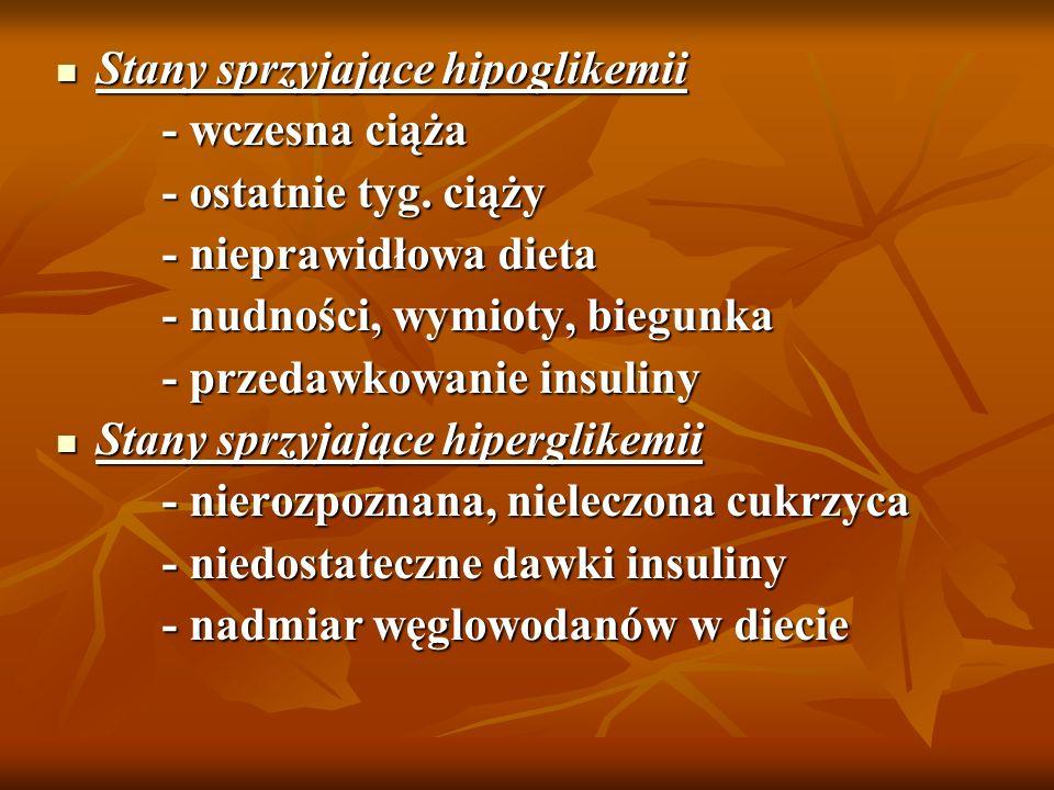 Stany sprzyjające hipoglikemii Stany sprzyjające hipoglikemii - wczesna ciąża - wczesna ciąża - ostatnie tyg. ciąży - ostatnie tyg. ciąży - nieprawidł
