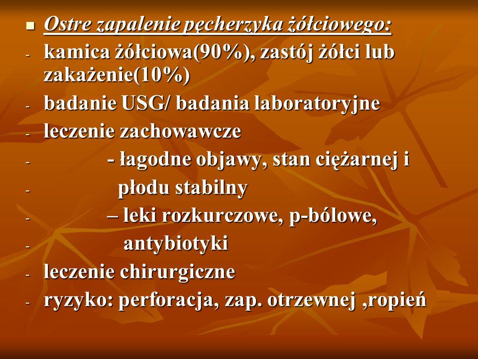 Ostre zapalenie pęcherzyka żółciowego: Ostre zapalenie pęcherzyka żółciowego: - kamica żółciowa(90%), zastój żółci lub zakażenie(10%) - badanie USG/ b