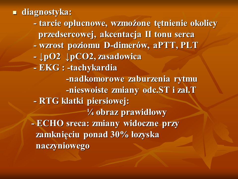 diagnostyka: diagnostyka: - tarcie opłucnowe, wzmożone tętnienie okolicy - tarcie opłucnowe, wzmożone tętnienie okolicy przedsercowej, akcentacja II t