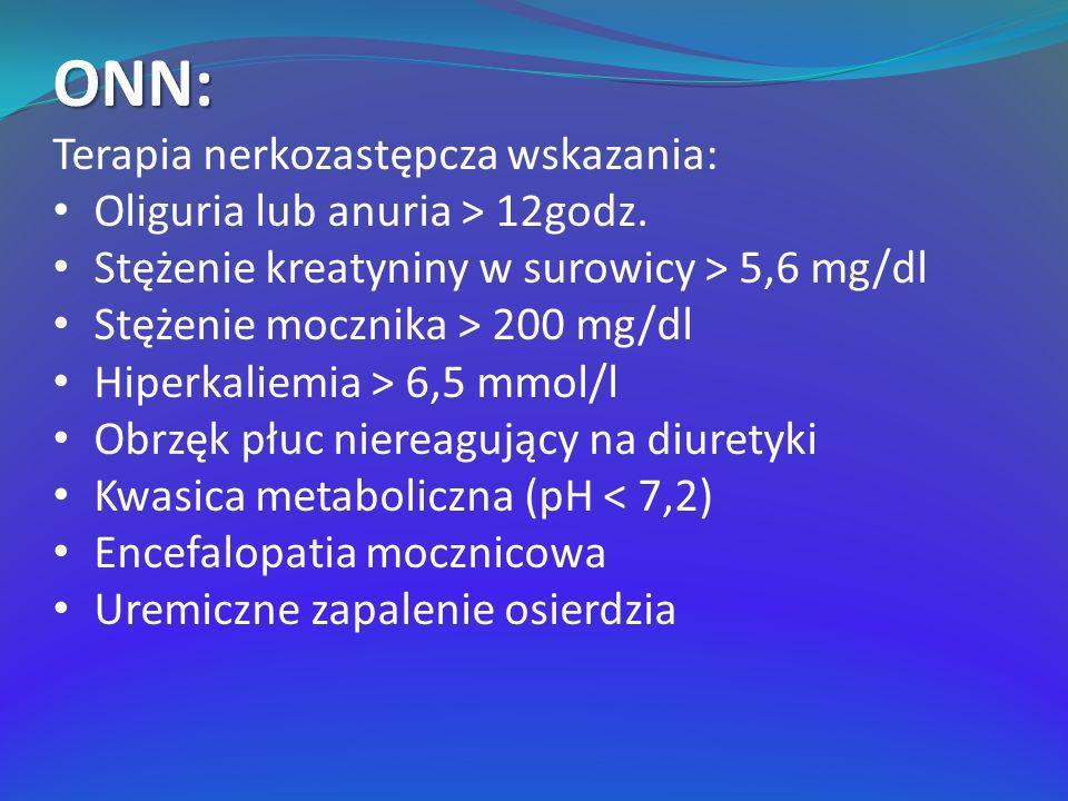 ONN: Terapia nerkozastępcza wskazania: Oliguria lub anuria > 12godz. Stężenie kreatyniny w surowicy > 5,6 mg/dl Stężenie mocznika > 200 mg/dl Hiperkal