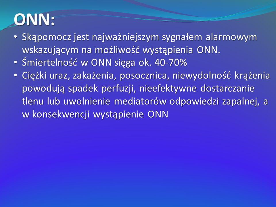 ONN: Badanie ogólne moczu: Obecność krwi i białka świadczy o pierwotnej chorobie nerek Wałeczki szkliste – niewydolność przednerkowa Komórki nabłonkowe, wałeczki nabłonkowe – ostra martwica cewek nerkowych Leukocyty, wałeczki białokrwinkowe – ostre śródmiąższowe zapalenie nerek Wałeczki czerwonokrwinkowe – ostre kłębuszkowe zapalenie nerek