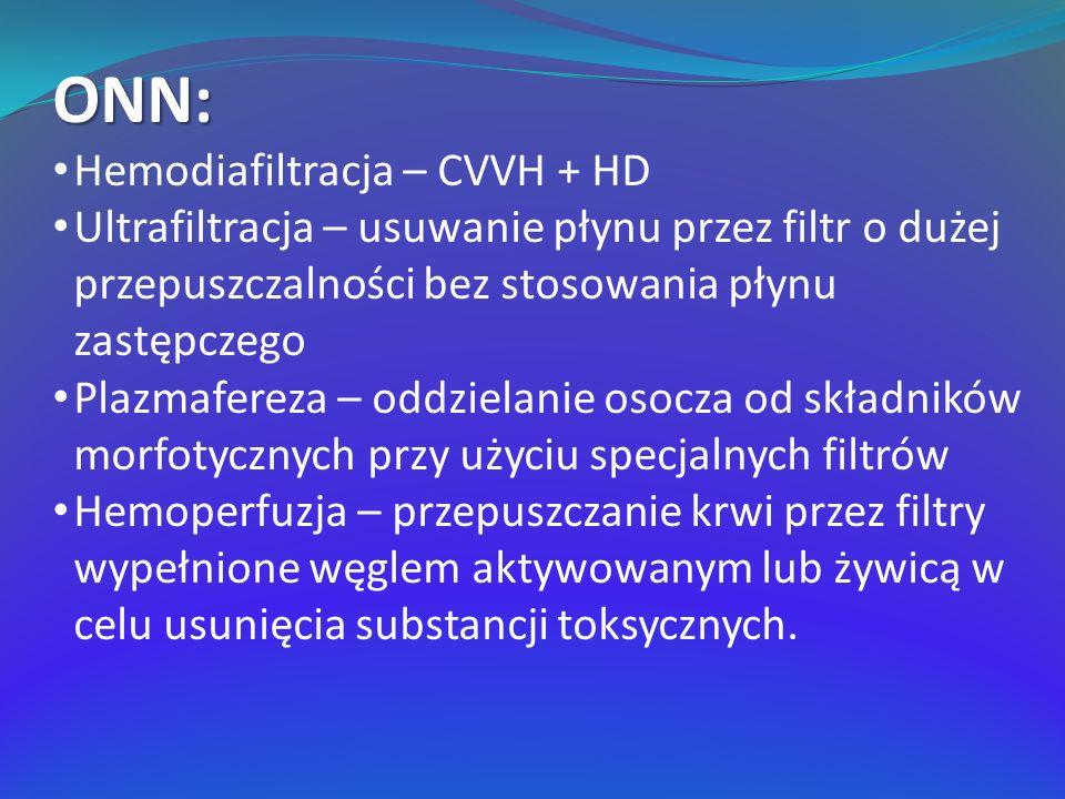 ONN: Hemodiafiltracja – CVVH + HD Ultrafiltracja – usuwanie płynu przez filtr o dużej przepuszczalności bez stosowania płynu zastępczego Plazmafereza – oddzielanie osocza od składników morfotycznych przy użyciu specjalnych filtrów Hemoperfuzja – przepuszczanie krwi przez filtry wypełnione węglem aktywowanym lub żywicą w celu usunięcia substancji toksycznych.