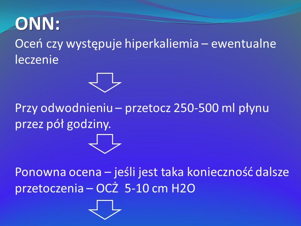 ONN: Oceń czy występuje hiperkaliemia – ewentualne leczenie Przy odwodnieniu – przetocz 250-500 ml płynu przez pół godziny. Ponowna ocena – jeśli jest
