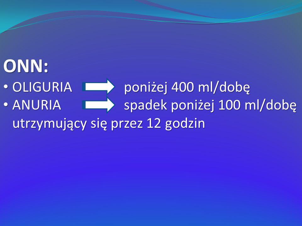 ONN: OLIGURIA poniżej 400 ml/dobę OLIGURIA poniżej 400 ml/dobę ANURIA spadek poniżej 100 ml/dobę utrzymujący się przez 12 godzin ANURIA spadek poniżej 100 ml/dobę utrzymujący się przez 12 godzin