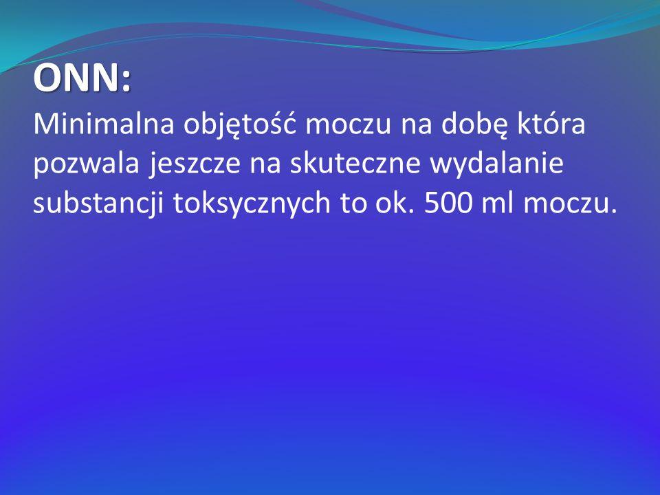 ONN: Minimalna objętość moczu na dobę która pozwala jeszcze na skuteczne wydalanie substancji toksycznych to ok. 500 ml moczu.