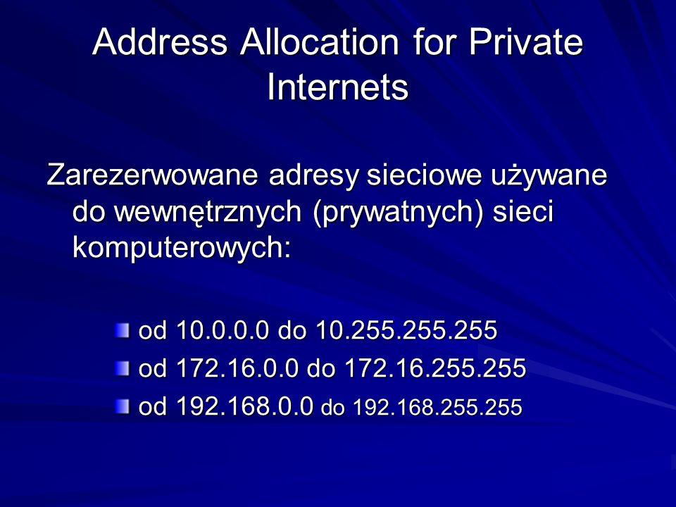 Address Allocation for Private Internets Zarezerwowane adresy sieciowe używane do wewnętrznych (prywatnych) sieci komputerowych: od 10.0.0.0 do 10.255