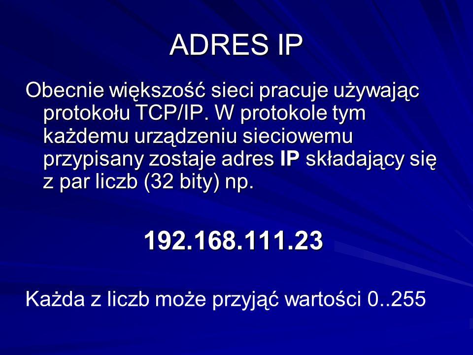 ADRES IP Obecnie większość sieci pracuje używając protokołu TCP/IP. W protokole tym każdemu urządzeniu sieciowemu przypisany zostaje adres IP składają